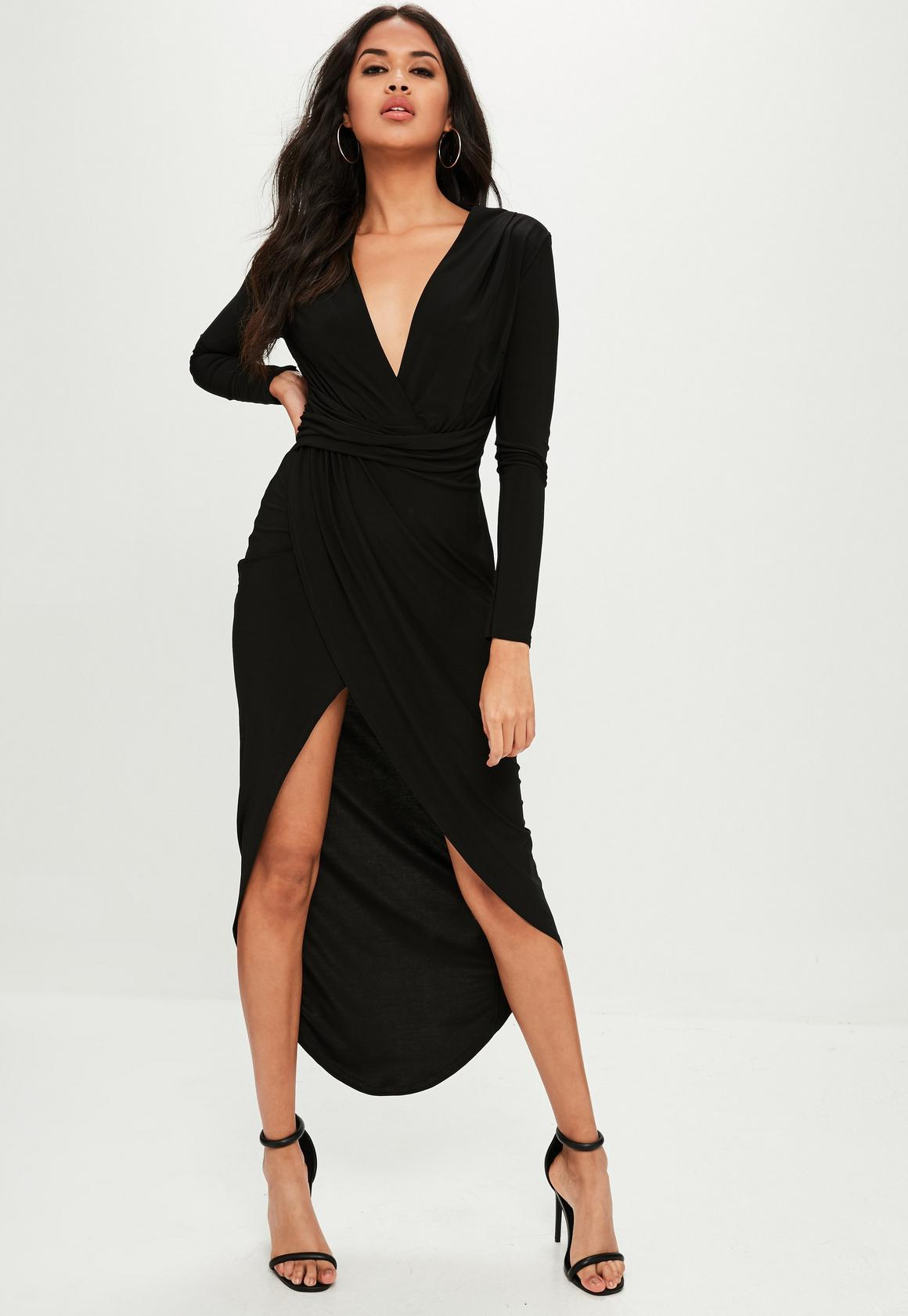Long sleeve black maxi dress with slit