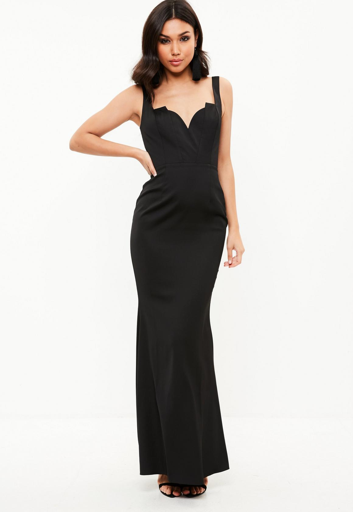 Black Satin Plunge Strappy Fishtail Dress | Missguided