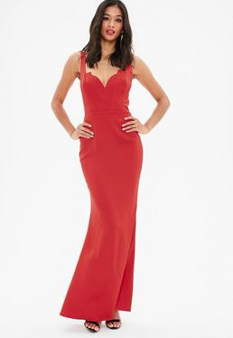 Red Satin Plunge Strappy Fishtail