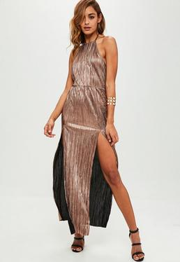 Gold Crinkle Halterneck Maxi Dress