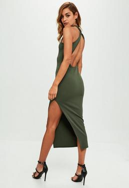 Khaki Stretch Crepe Twist Back Maxi Dress