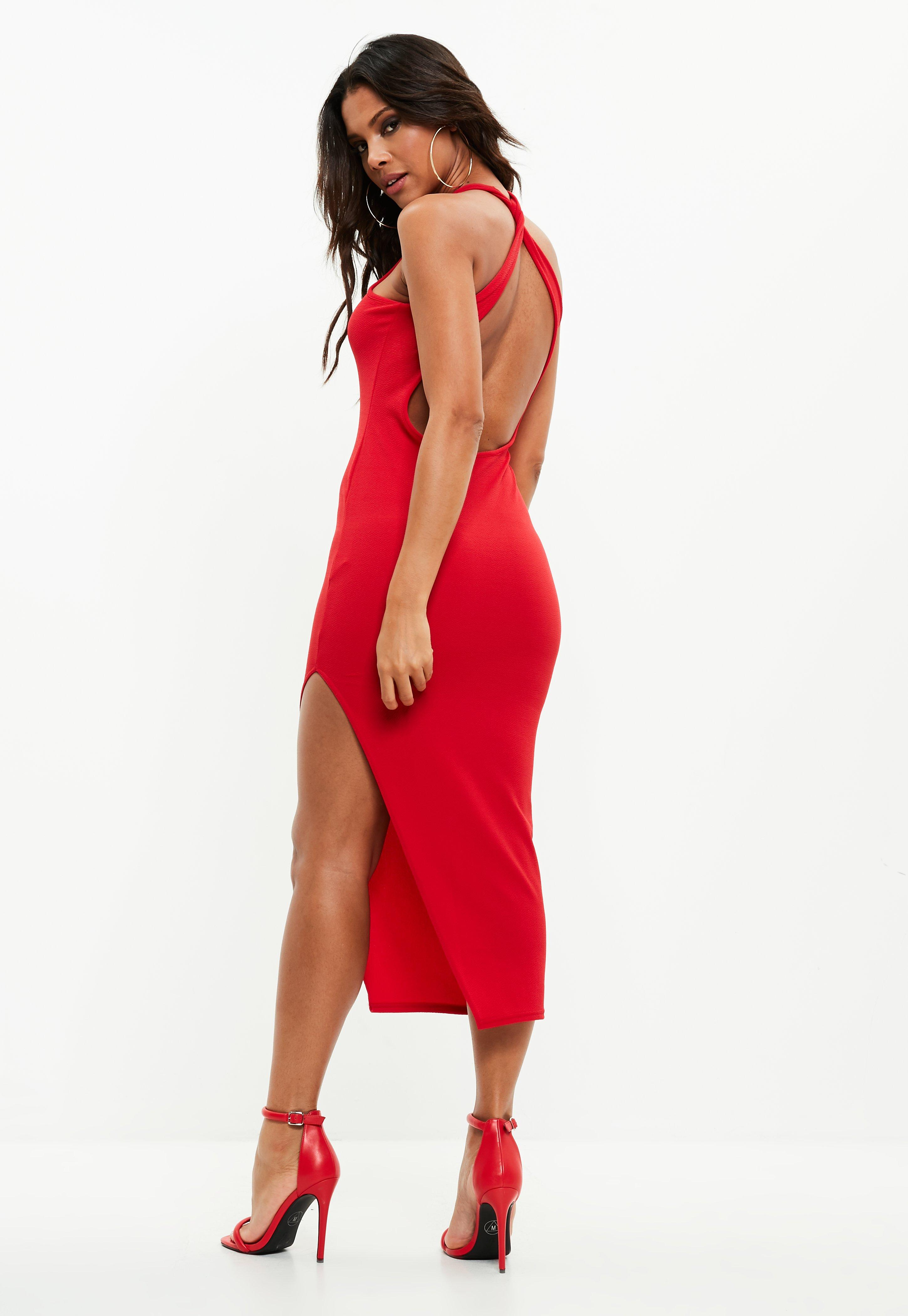 Red maxi dress with cowl back shirt