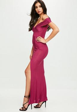 Purple Slinky Split Maxi Dress