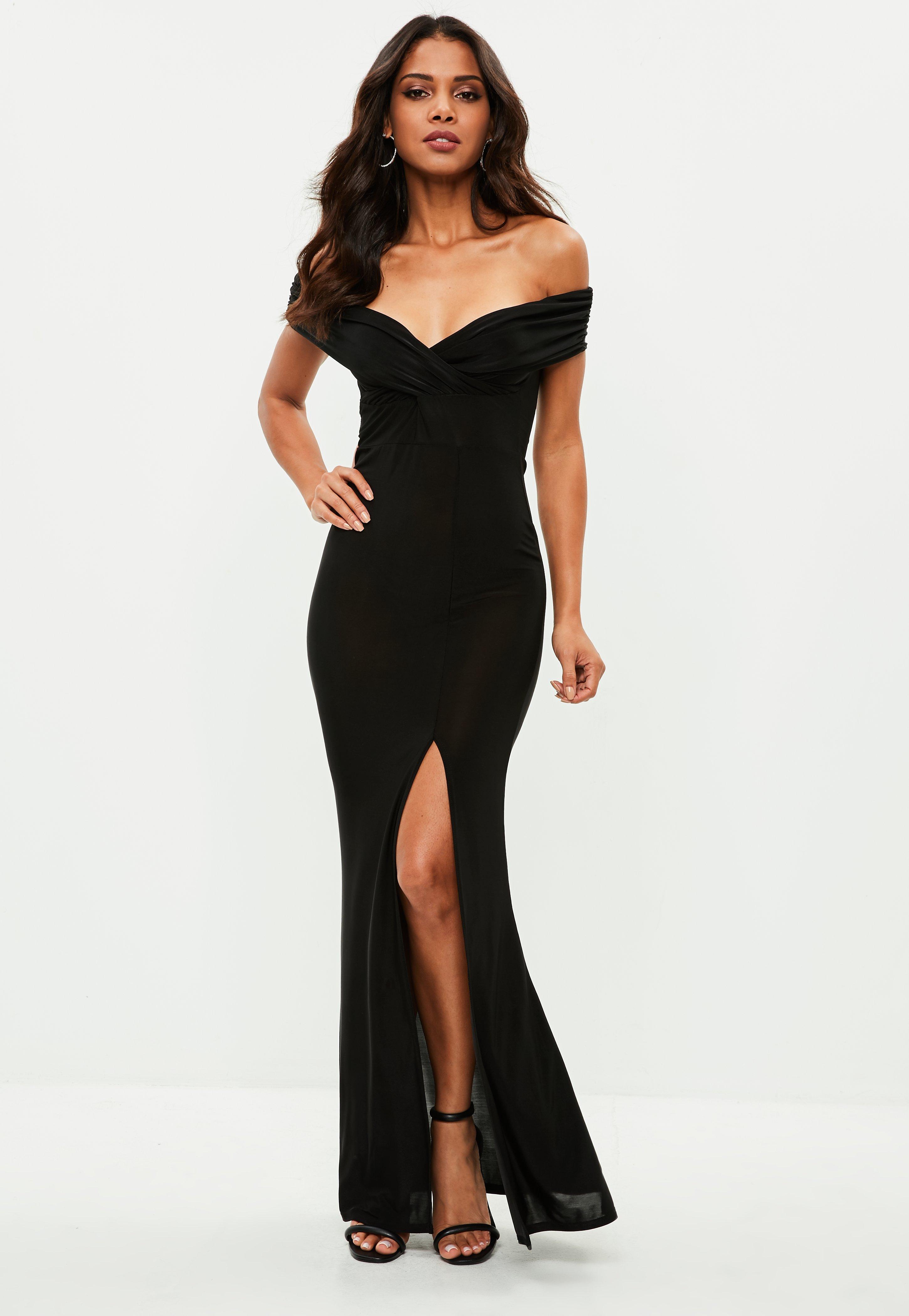 Black Slinky Bardot Wrap Front Split Maxi Dress | Missguided Australia