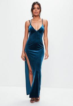 Blue Velvet Plunge Maxi Dress