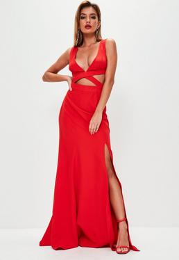 Red Crepe Cut Out Waist Fishtail Maxi Dress