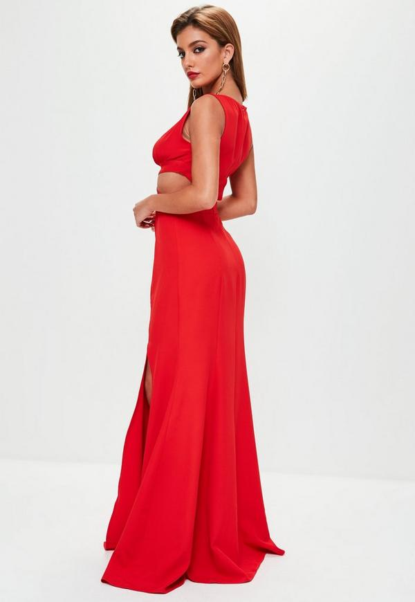 maxikleid mit cut out taille in rot missguided. Black Bedroom Furniture Sets. Home Design Ideas