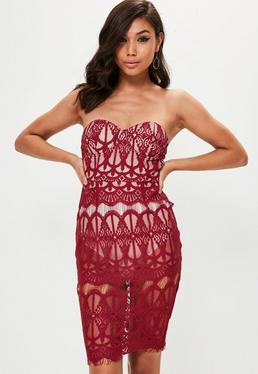 Red Bustcup Bandeau Dress
