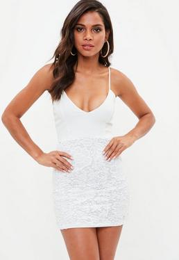 White Strappy Plunge Lace Bodycon Dress