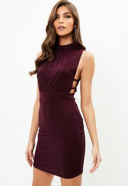 Burgundy Slinky High Neck Dress