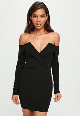 Vestido bardot doblado ajustado en negro