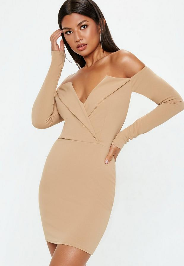 Product photo of Camel bardot folded bodycon dress beige