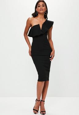 Black One Shoulder Frill Midi Dress