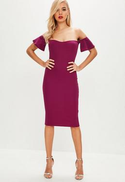 Purple Bardot Bodycon Midi Dress