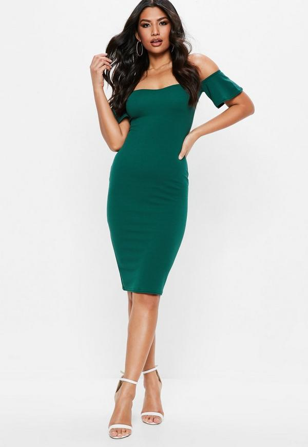 Green barbot bodycon midi dress missguided for Robe encolure bateau