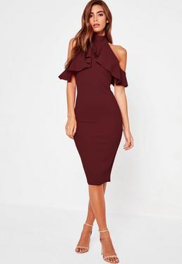 Fioletowa sukienka midi z wycięciami na ramionach