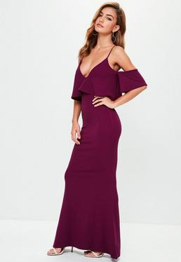Purple Strappy Frill Fishtail Maxi Dress