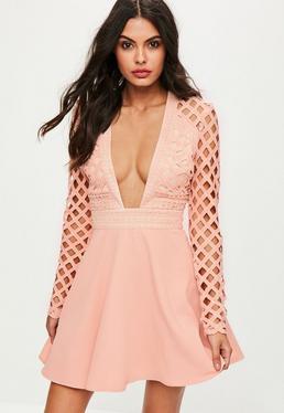 Pink Lace Plunge Skater Dress