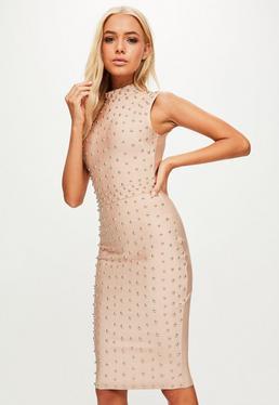 Cielista bandażowa sukienka midi z ćwiekami