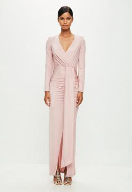 Peace + Love Pink Long Sleeve Wrap Maxi Dress