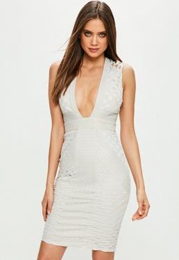Grey Plunge Lace Diamond Patter Midi Dress