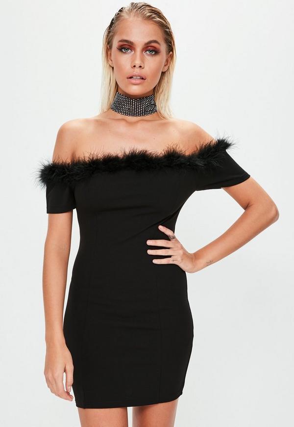 Black Crepe Feather Trim Bardot Bodycon Dress Missguided