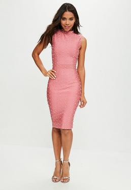 Pink Bandage Studded Dress