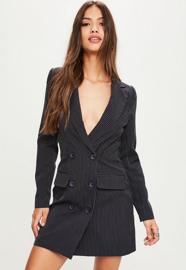 fancy navy pinstripe blazer outfit women