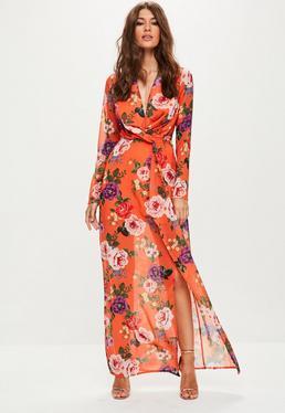 Orange Long Sleeve Plunge Twist Dress