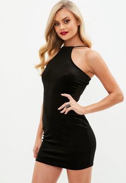 Black Velvet Racer Bodycon Dress