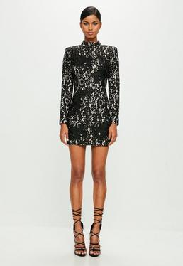 Peace + Love Black High Neck Lace Mini Dress