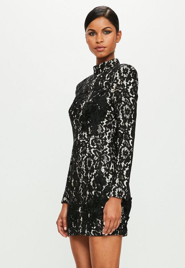 Robe noir courte en dentelle