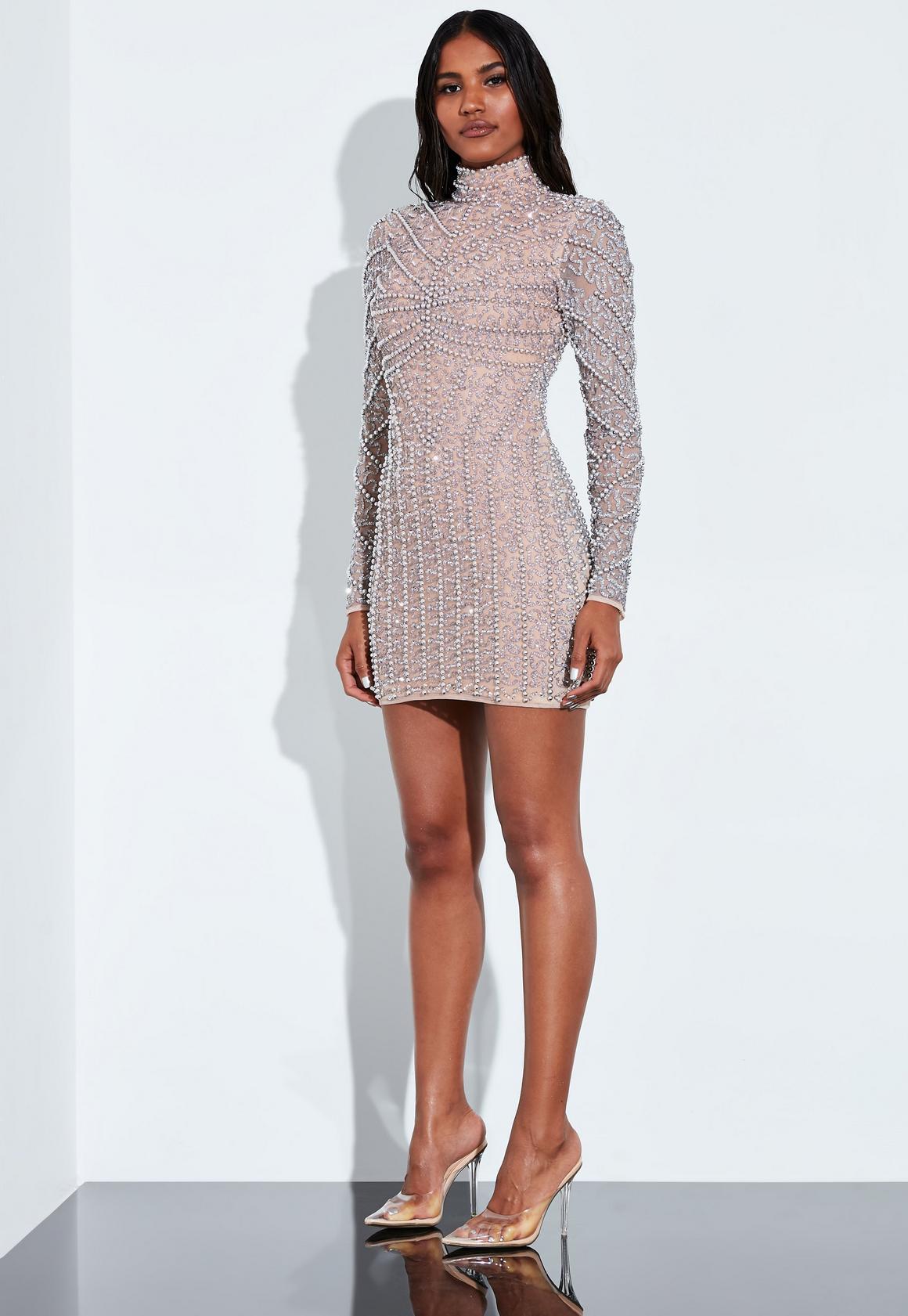 Peace + Love Silver High Neck Long Sleeve Beaded Mini Dress | Missguided
