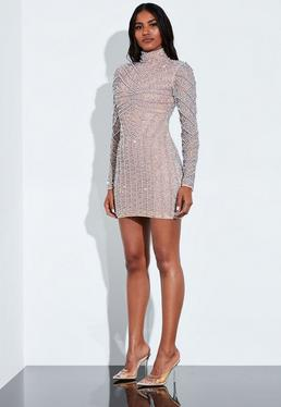 Peace + Love Silver High Neck Long Sleeve Beaded Mini Dress