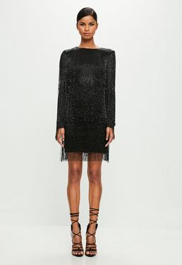 Peace + Love Black Long Sleeve Sequin Tassel Mini Dress