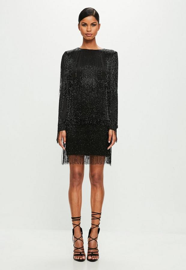 Product photo of Black long sleeve sequin tassel mini dress black