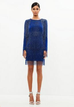Peace + Love Blue Long Sleeve Tassel Mini Dress
