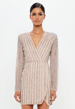 Carli Bybel x Missguided Beżowa zdobiona sukienka mini