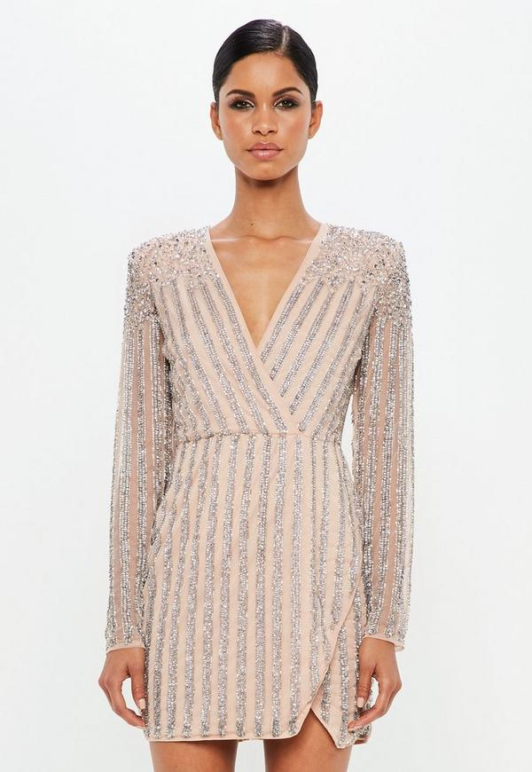 9f85b79addc6f ... Carli Bybel x Missguided Nude Embellished Mini Dress. Previous Next