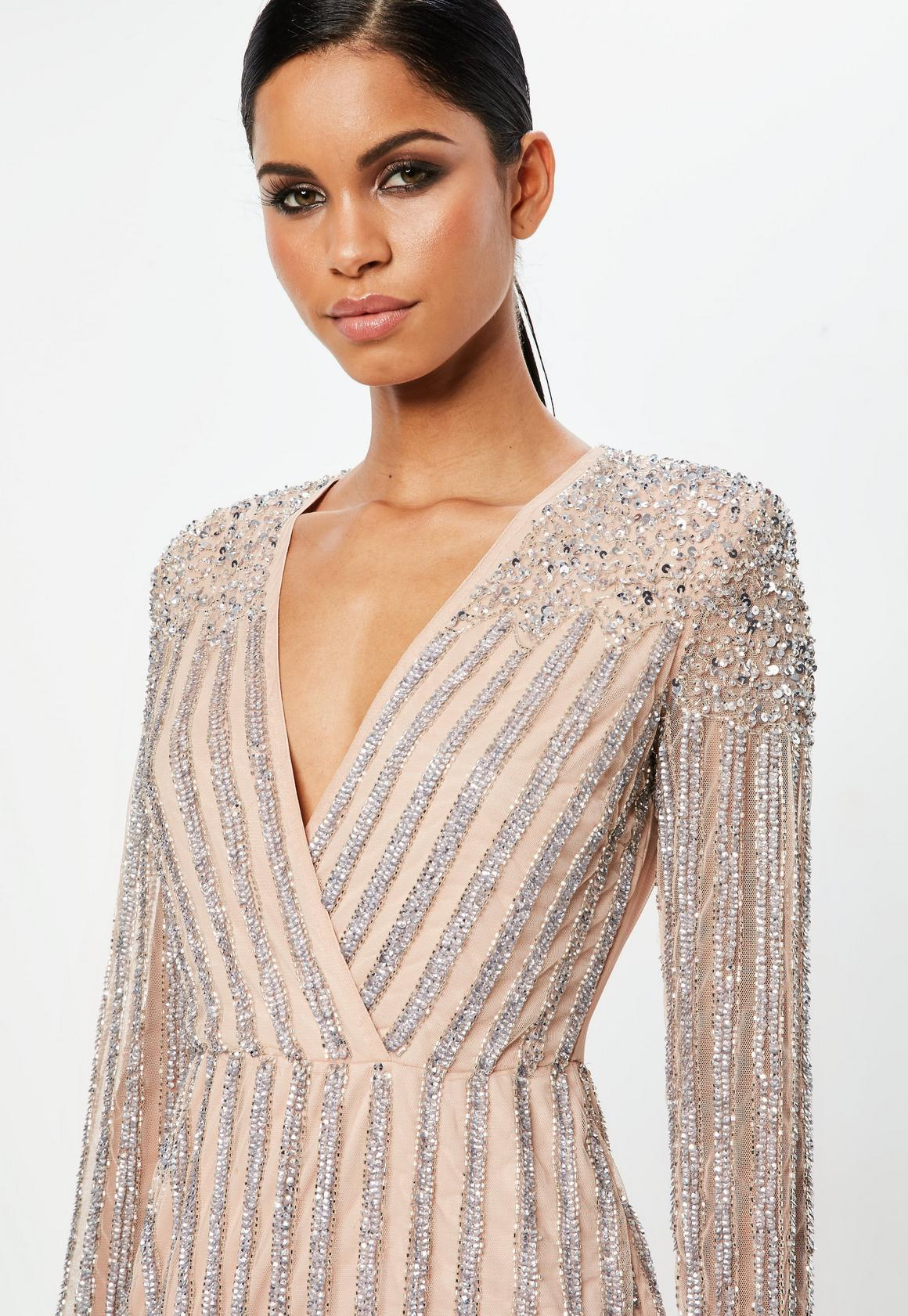 b01143607a35 Missguided - Carli Bybel x Missguided Nude Embellished Mini Dress, Beige - 2