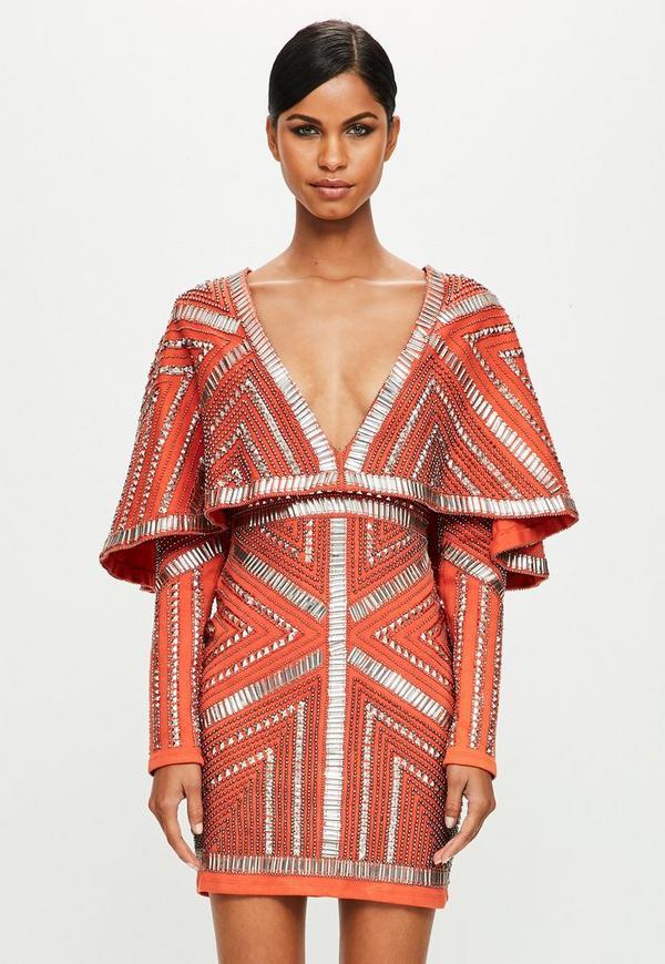 Peace + Love Orange Kimono Embellished Dress | Missguided