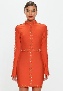 Peace + Love Orange High Neck Midi Dress