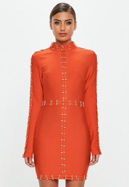 Peace + Love Pomarańczowa zdobiona sukienka midi