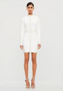 Peace + Love White High Neck Embellished Mini Dress