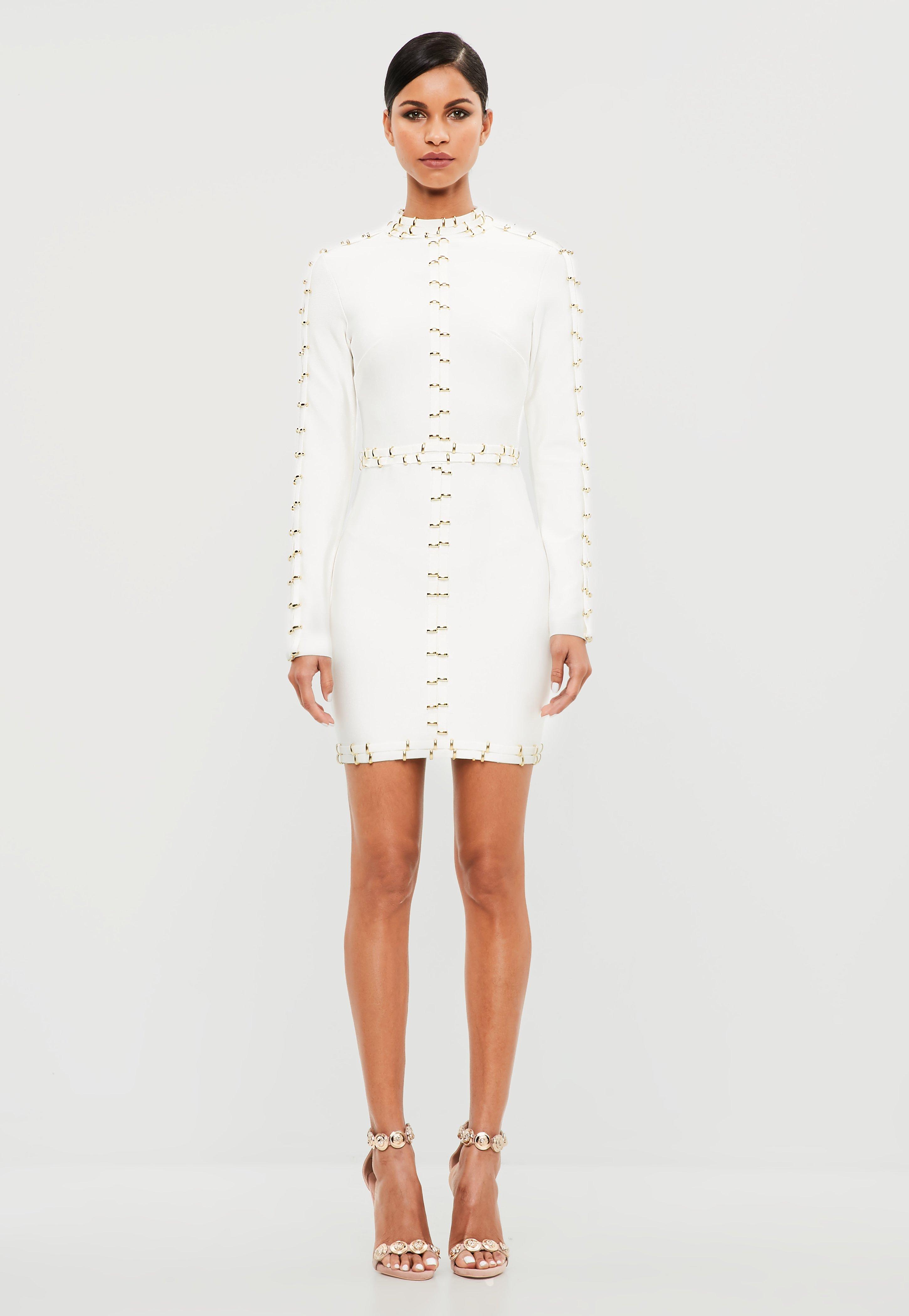 ff861c434a4e Peace + Love White High Neck Goldware Mini Dress