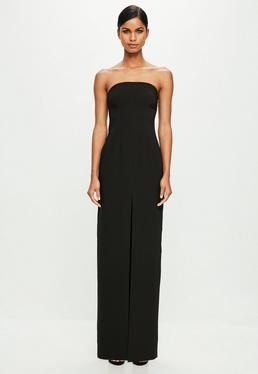 Peace + Love Black Bandeau Tailored Maxi Dress