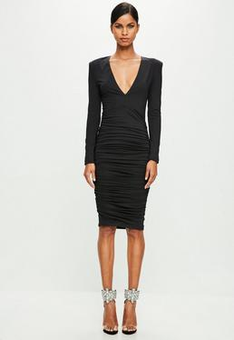 Peace + Love Black Ruched Dress