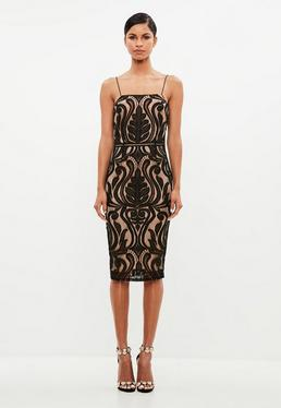Black Baroque Placed Lace Midi Dress