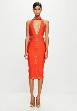 Peace + Love Orange Plunge Bandage Midi Dress