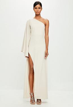 Peace + Love Nude One Shoulder Maxi Dress
